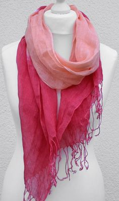Colorblock Scarf in coral and cherry