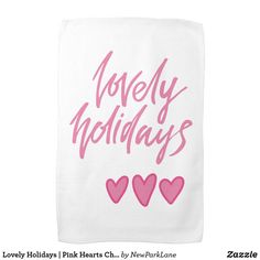 Lovely Holidays | Pink Hearts Christmas Kitchen Towel