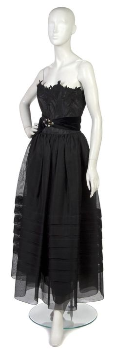 Christian Dior Couture Black Lace and Silk Evening Gown~Image © Leslie Hindman Auctioneers, Inc.