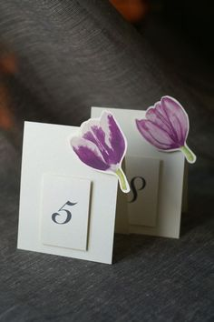 Mixed Purple Tulip Table Numbers  Weddings showers by jenAitchison, $45.00