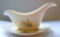 2 Piece STETSON MARCREST Yellow Dogwood Gravy Boat & Underplate Vintage MCM USA  #StetsonMarcrest