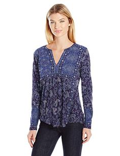 Lucky Brand Womens Border Print Top BlueMulti Small ** Check out the image by visiting the link.