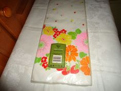 Vintage NOS NIP Ambassador Paper Party Table Cover. Floral Motif. USA.