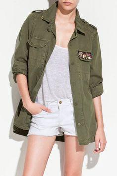 Green Lapel Long Sleeve Rhinestone Cotton Blends Outerwear