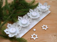 Adventní svícen s vločkou II ( 718 ) - Hobbies paining body for kids and adult Christmas Fayre Ideas, Holiday Crafts For Kids, Christmas Decorations, Christmas Makes, Christmas Art, Xmas, Diy Clay, Clay Crafts, Ceramic Clay