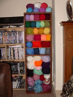 The cupboard I, ahem, 'liberated' from work is almost a perfect fit for my yarn stash!