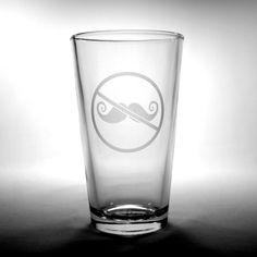 Anti-Mustache Pint Glass
