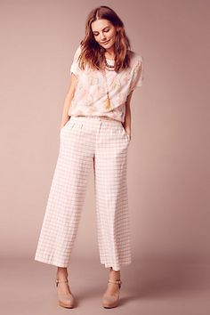 Windowpane Culottes #anthropologie...not a good picture...ivory & tan...also available in black & white