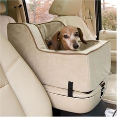 "Description  Features:    18"" L x 15"" W x 7"" H (Front) x 12"" H (Back)- for pets up to 20 lbs  Perfect for up-front riding  High back discourages pet from jumping to back seat  Non-skid rubber, zippered bottom  Luxurious two-tone micro suede cover  Safety strap secures animal to seat  Removable i..."