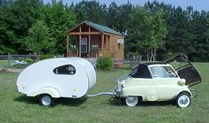 """BMW Isetta with """"Teardrop"""" Camper Trailer This makes me think of Alisa.a little car and camper to go with your tiny house! Teardrop Camper Trailer, Tiny Camper, Camper Caravan, Retro Campers, Vintage Campers, Classic Campers, Vintage Rv, Vintage Airstream, Rv Campers"""