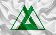 Download wallpapers Flag of Toyama Prefecture, Japan, 4k, silk flag, Toyama, emblem, symbols of Japanese prefectures