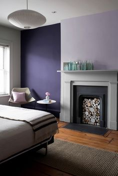 BenjaminMoore Lavender Mist 2070-60 with Natura, eggshell finish (wall behind fireplace).