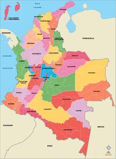 Resultado de imagem para mapas colombia Google Images, World, Ss, Travel, Maps, Amor, Colombia Map, Teaching Geography, Worldmap