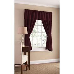 Mainstays Bennett Heavyweight Textured Window Panel Pair Available In Multiple Sizes And Colors, Red