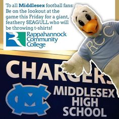 To all Middlesex Schools VA football fans  be on the lookout for a giant feathery seagull who will be throwing t-shirts at the game this Friday! #middlesex #chargers #middlesexcounty #va #virginia #middlepeninsula #midpenva #rappahannock #community #college
