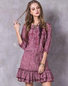 #AdoreWe #VIPme Swing Dresses - Designer KEQW Pink Vintage Embroidery Short Dress with Ruffles Hem - AdoreWe.com