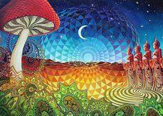 Buddha Bliss 5x7 Greeting Card Psychedelic Geometry Pagan Spiritual Sacred Geometry Goddess Art