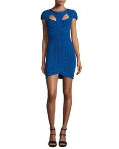 HERVE LEGER Embellished Bandage Dress W/Cutouts, Blue Sapphire. #herveleger #cloth #