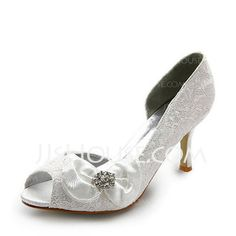 Wedding Shoes - $38.99 - Satin Stiletto Heel Peep Toe Pumps Wedding Shoes With Bowknot Rhinestone (047005038) http://jjshouse.com/Satin-Stiletto-Heel-Peep-Toe-Pumps-Wedding-Shoes-With-Bowknot-Rhinestone-047005038-g5038