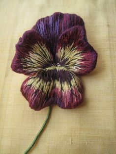 ♒ Enchanting Embroidery ♒ Margaret Dier Embroidery. Stumpwork long and short silk shaded pansy brooch by staci