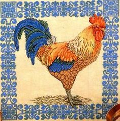 rooster cross stitch patterns | French Rooster I Cross Stitch Pattern Regal Bantam Scroll Border ...