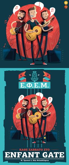 EFEM posters by Ilias Sounas, music, illustration, band, characters, song