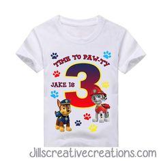 Paw Patrol Birthday T-Shirt, Chase, Marshall