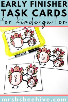 Give your students early finisher activities that are engaging and educational.  These task cards are meant to be done independently to help free up your teacher time for those students who need assistance!Help students increase addition skills with number bonds with these kindergarten task cards.