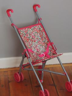Made to measure, such a great idea. I never liked the one that came with little D doll stroller. Liberty Fabric, Liberty Print, Little People, Little Ones, Blog Couture, Liberty Of London, Folding Chair, Baby Dolls, Kids Room
