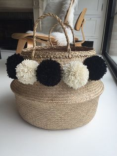 Large Thai basket with PomPoms black and by JackyAndFamily on Etsy