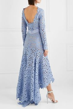 Sky-blue guipure lace and grosgrain Concealed snap and zip fastening at back cotton; Simple Dresses, Casual Dresses, Fashion Dresses, Formal Dresses, Gala Dresses, Evening Dresses, Bridal Robes, Petite Dresses, Vogue Fashion