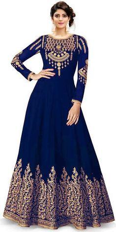 Stylish Phantom Silk Navy Blue Embroidery Gown Ethnic Gown, Navy Blue, Purple, Anarkali, Latest Trends, Gowns, Embroidery, Silk, Stylish