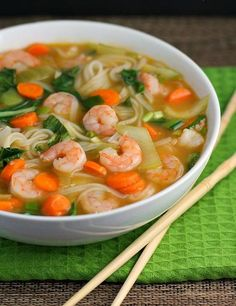 Asian Rice Noodle Soup with Shrimp with Sesame Oil Baby Bok Choy Large Carrots Garlic Fresh Ginger Vegetable Broth Water Gluten Free Soy Sauce Fish Sauce Rice Vinegar Rice Noodles Shrimp Green Onions. Rice Noodle Recipes, Rice Noodle Soups, Shrimp Recipes, Soup Recipes, Cooking Recipes, Wonton Recipes, Dinner Recipes, Asian Recipes, Cooking Tips