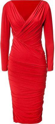 Donna Karan Blood Red Twist Drape Dress
