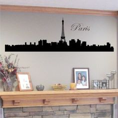 Wall Decal Paris Skyline Silhouette with Eiffel Tower - Vinyl Wall Art