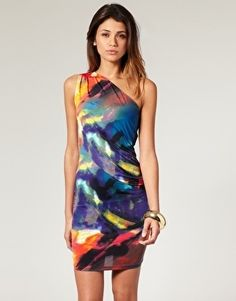 ASOS One Shoulder Dress in Digital Rainbow Print - StyleSays Sexy Skirt, Dress Skirt, Dress Up, Latest Fashion Clothes, Fashion Outfits, Watercolor Dress, Sweater Sale, Painted Clothes, Rainbow Print