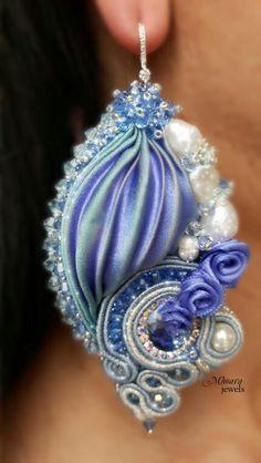 ' like a Princess ' shibori silk earrings light sapphire designed by Mhoara Jewels