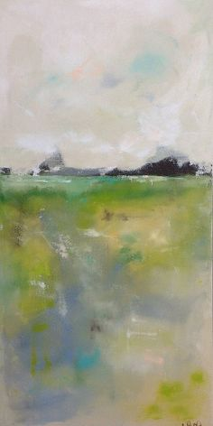 Yellow Green Landscape Seascape Abstract Original by lindadonohue, $395.00