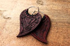 Indian Henna Leather Earrings
