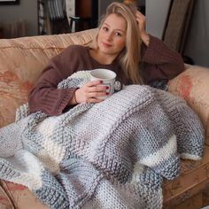 This blanket knitted by is the perfect cosy accessory, made using Crazy Sexy wool by Wool and the Gang. Crafts To Do, Diy Crafts, Winter Warmers, Cosy, Crocheting, Knit Crochet, Turtle Neck, Blanket, Knitting
