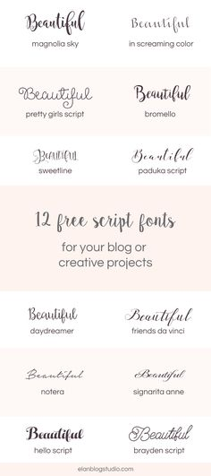 A roundup of 12 free beautiful script fonts that you can use for your blogs graphics, DIY wedding invitations or other creative projects.