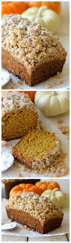 Crumbly Pumpkin Bread - With lightened-up options, this can be eaten guilt-free! pumpkin recipes and desserts Just Desserts, Delicious Desserts, Dessert Recipes, Yummy Food, Fondue Recipes, Kabob Recipes, Drink Recipes, Recipies, Pumpkin Recipes