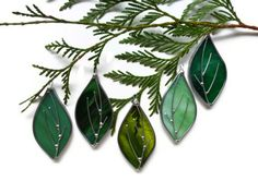 Stained Glass Spring Leaves Set of 5 Suncatchers Ornaments Decoration. $25.00, via Etsy.