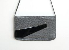 Vintage 1970 - 80s New wave / Gray & Black Vinyl Purse by VelouriaVintage, $18.00 #vintage