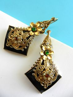 Beautiful long earrings 1970 Italy -golden arabesques , flowers & crystals,large bright black cabochons - Art.522/3-
