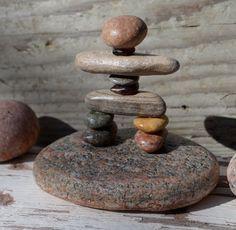COLORFUL INUKSHUK, rock inukshuk, pebble art, pebble inukshuk, rock art, stone art, stone inukshuk, great lakes rocks, canadian made, Pebble Stone, Pebble Art, Stone Art, Stone Crafts, Rock Crafts, Beach Rock Art, Balustrades, Balance Art, Rock Sculpture