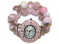Perfectly Pink Chunky Beaded Watch  Interchangeable by BeadsnTime