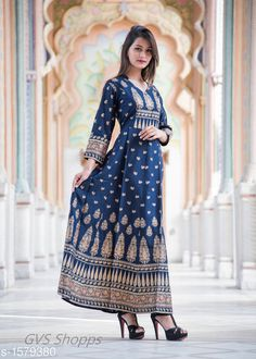 Gowns Fabulous Rayon Slub Women's Gown Fabric: Rayon Slub Sleeves: 3/4 Sleeves Are Included Size: Gown - S - 36 M - 38 in L - 40 in XL - 42 in XXL - 44 in  Length: Up To 52 in Type: Stitched Description: It Has 1 Piece Of Women's Long Gown Work: Printed Country of Origin: India Sizes Available: S, M, L, XL, XXL, XXXL   Catalog Rating: ★4 (253)  Catalog Name: Arianna Fabulous Rayon Slub Women's Gowns CatalogID_205277 C79-SC1289 Code: 165-1579380-0741