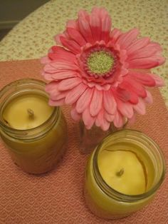 Homemade beeswax candles scented with lavender essential oil and cinnamon. Safe to burn and easy to make!