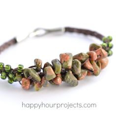 Cluster Stone Chip Woven Bracelet Tutorial at www.happyhourprojects.com